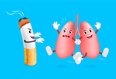 part of me: Healthy lung run away from cigarette. Cute cartoon character. Human health care concept, illustration isolated on blue background. Vectores