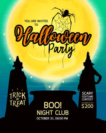 Halloween party. Witches, moon and spider. Design for your advertising. Happy  Halloween Day. Illustration.