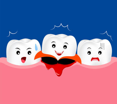 Cute cartoon tooth character with gum problem. And funny dracula tooth. Happy Halloween concept, gingivitis and bleeding. Illustration