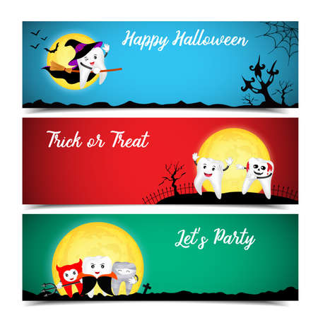 Cute cartoon tooth character. Happy Halloween banners set design. Trick or treat, Lets  party concept,  illustration.