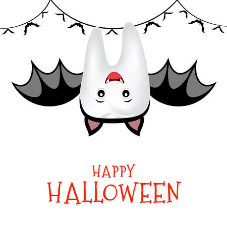 Cute cartoon tooth character in bat suit. Trick or Treat, Happy Halloween concept. Illustration isolated on white background. Vettoriali