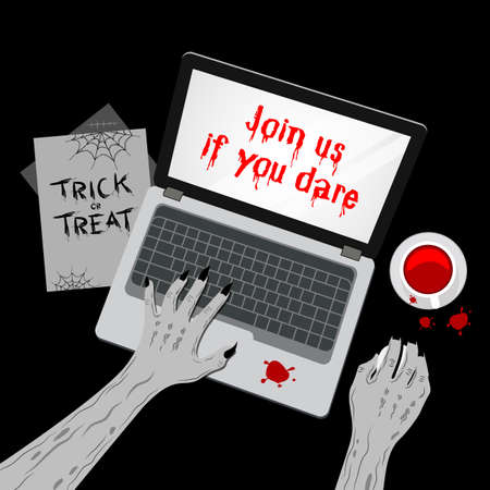 Zombie working with mouse computer. hands typing on the laptop keyboard and using mouse. Top view of  illustration. Happy Halloween day, join us if you dare concept. Illustration