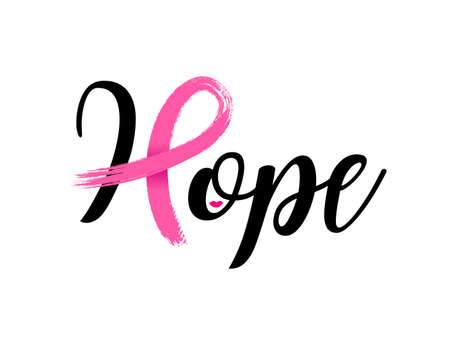 Hope lettering design with Pink ribbon, Brush style for poster, banner and t-shirt. Breast cancer awareness concept. Illustration isolated on white background. 向量圖像