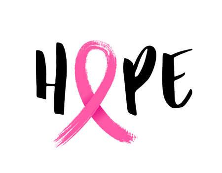 Hoffnungsbeschriftungsdesign mit rosa Band, Bürstenart für Plakat, Fahne und T-Shirt. Brustkrebs-Bewusstsein-Konzept. Illustration lokalisiert auf weißem Hintergrund. Vektorgrafik