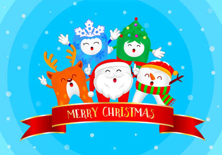 Illustration of christmas teeth characters in blue background.