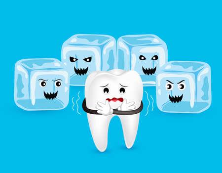 Personnage de dent de dessin animé avec de la glace d'horreur. Dents sensibles au froid. Concept de soins dentaires, illustration isolé sur fond bleu.