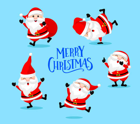 Collection of cute cartoon Santa Claus.