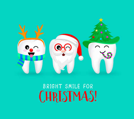 Set di personaggi con denti di Chrismas. Emoticon espressioni facciali. Divertente concetto di cure odontoiatriche. Illustrazione isolato su sfondo blu.