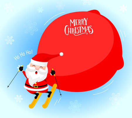 Santa Claus skiing with a big bag of presents. Merry Christmas and happy new year. Illustration on snowflake background.