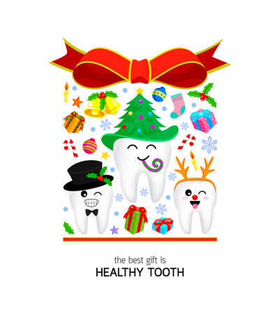 Christmas tooth characters with Christmas elements design in gift box shape. Illustration isolated on white background. The best gift concept.