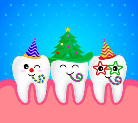 Set of Chrismas tooth characters. Emoticons facial expressions. Funny dental care concept. Illustration isolated on blue background.