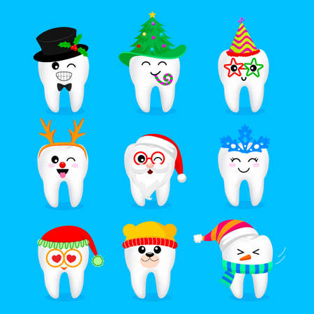 Set di personaggi natalizi di Natale e di Natale. Emoticon con diverse espressioni facciali. Divertente concetto di cure odontoiatriche. Illustrazione isolato su sfondo blu.