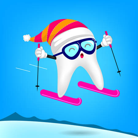 Cute cartoon tooth character skiing. Merry Christmas and happy new year. Healthy teeth concept. Illustration on blue background.