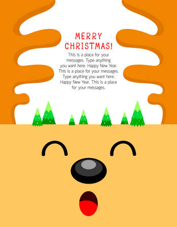 niños actuando: Reindeer cartoon character with Xmas tree. Merry Christmas and happy new year. Vector Illustration, design for greeting card, banner, poster. Vectores