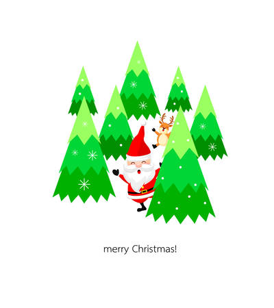 companionship: Cute Christmas cartoon characters. Santa claus with reindeer and Xmas tree. illustration isolated on white background.