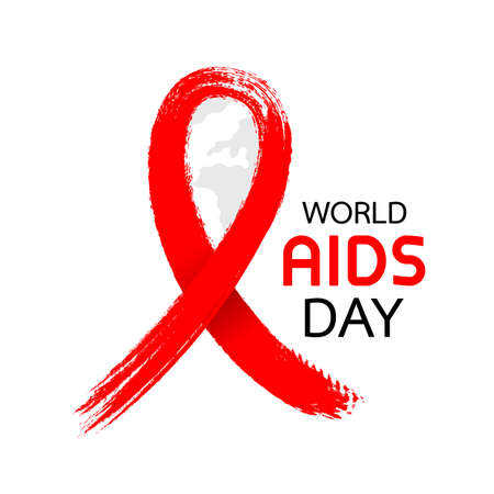 World AIDS Day. Aids Awareness icon design. Red ribbon in Brush style for poster, banner, t-shirt. illustration isolated on white background. Illustration