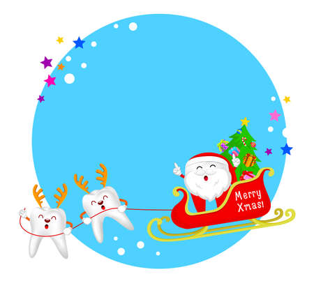 Cute cartoon tooth characters of Santa  Claus with reindeer and sleigh.  Circle Christmas frame. Merry Christmas concept, illustration.