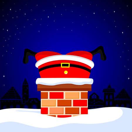 De Kerstman plakte in de schoorsteen op sneeuwdak. Leuk beeldverhaalkarakter, Vrolijke Kerstmis en Gelukkig Nieuwjaar. Illustratie.