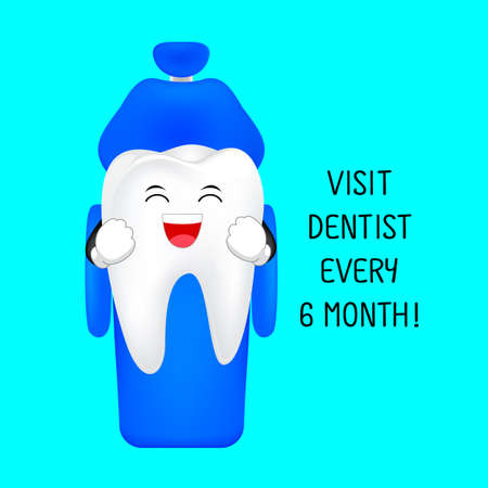 Cute cartoon tooth character smiling on dental chair. Visit dentist every 6 month, dental care concept. Illustration isolated on blue background. Illustration