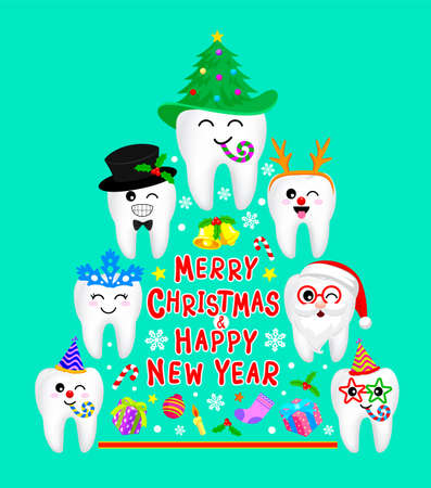 Fancy tooth characters design in Christmas tree shape. Merry Christmas and happy new year concept. Illustration isolated on white background.