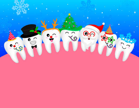 happy cute cartoon tooth  snowflake, Santa Claus, Xmas tree, deer, snowman. great for Christmas celebration. illustration Illustration