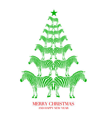 Zebra print shape into Christmas tree. Merry Christmas and happy new year. Wild animal design trendy texture, vector illustration isolated on white background. Иллюстрация