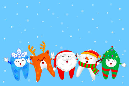 Christmas Tooth Characters design, Santa Claus, Snowman, snowflake, Christmas tree and Reindeer. Merry Christmas and Happy new year concept. Illustration with snow background.