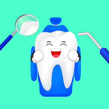 Cute cartoon tooth character smiling on dental chair. Visit dentist every 6 months, dental care concept. Illustration isolated on green background. Illustration