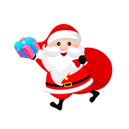 Santa Claus holding gift and bag. Merry Christmas and happy new year. Illustration isolated on white background. Illustration