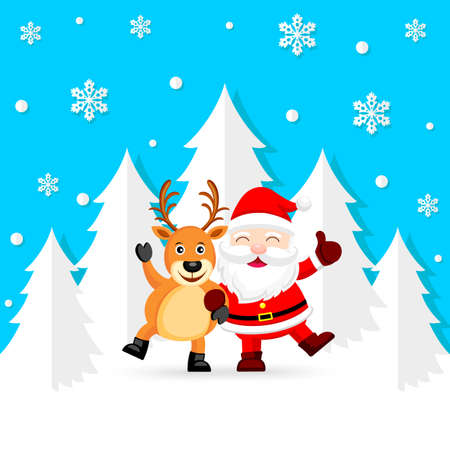 Funny Christmas Characters design with snowflake, Santa Claus and Reindeer. Merry Christmas and Happy new year concept. Illustration isolated on blue background. Illustration