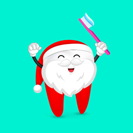 Funny cartoon tooth wearing santa suit holding a toothbrush, dental care concept illustration.