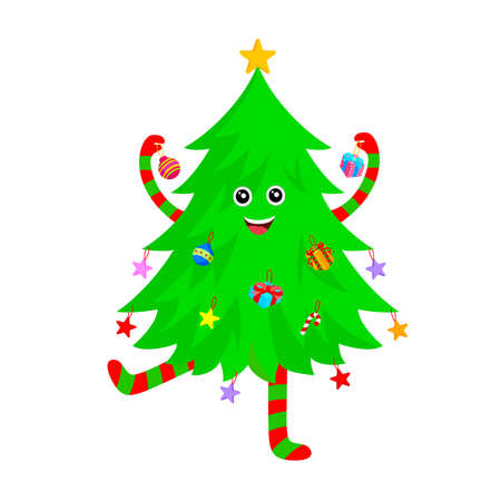 Cute Christmas tree cartoon characters design. Merry Christmas and Happy New Year. Vector illustration isolated on white background.