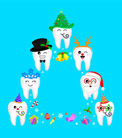 Fancy tooth characters design in Christmas tree shape. Merry Christmas and happy new year concept. Illustration isolated on blue background. Illustration