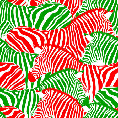 Zebra seamless pattern. Wild animal texture. Striped red and green. design trendy fabric texture, vector illustration.