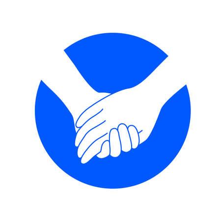 Händchenhalten am blauen Kreis. Icon-Design im flachen Stil. Konzept der Unterstützung, Vektor-Illustration isoliert auf weißem Hintergrund.