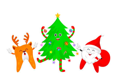 Christmas tooth characters, Santa Claus and Reindeer with Christmas tree. Emoticons facial expressions. Funny dental care concept. Illustration isolated on white background.
