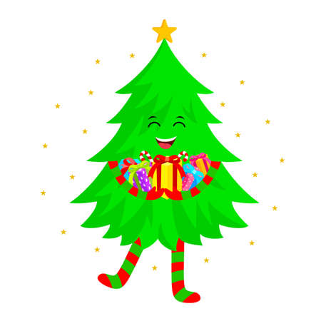 Cute Christmas tree cartoon characters design. Holding many gift. Merry Christmas and Happy New Year. Vector illustration isolated on white background.