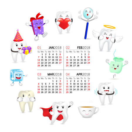 Cute cartoon tooth character set on circle shape. Four month calendar date, year of twenty eighteen. Dental care concept.  Illustration isolated on white background. Illustration