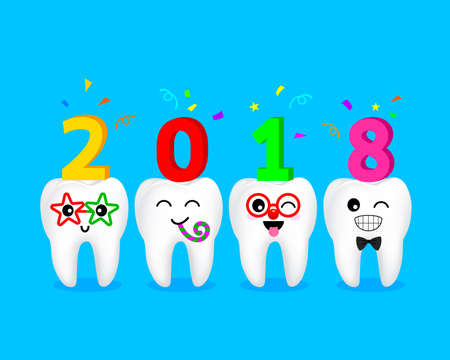Cute cartoon tooth character set. Happy new year of twenty eighteen. Dental care concept.  Illustration isolated on blue background.