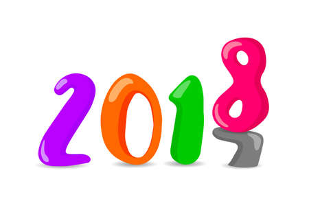 Happy New Year of twenty eighteen, Eight replace seven, colorful numbers design for celebration. Illustration
