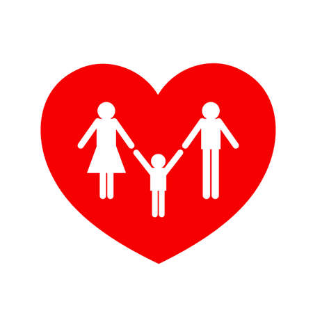 Family in red heart, icon design. Family care concept. Vector illustration isolated on white background.