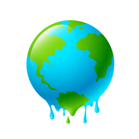 Melting globe. Global warming concept. Icon design, illustration isolated on white background. Illustration