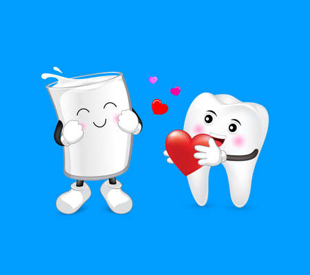 Cute cartoon tooth and a glass of milk in love. Dental care concept. Happy valenntines day. Illustration isolated on blue background.