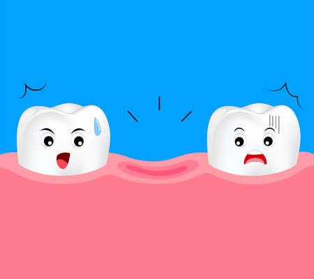 Dental cartoon of missing tooth. Cute cartoon dental care concept. Illustration isolated on blue background.