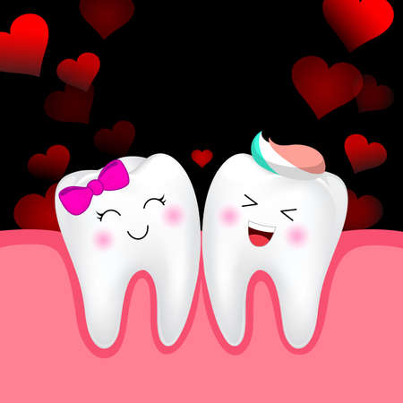 Cute cartoon tooth character, boy and girl in love. Happy Valentines day.  Illustration isolated on black background.