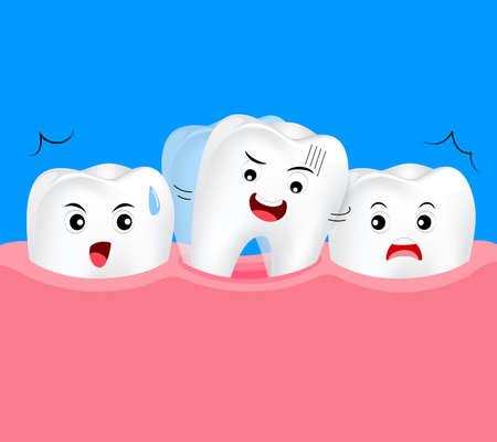 Baby tooth rocking. Dental care concept, illustration on blue background. Illustration