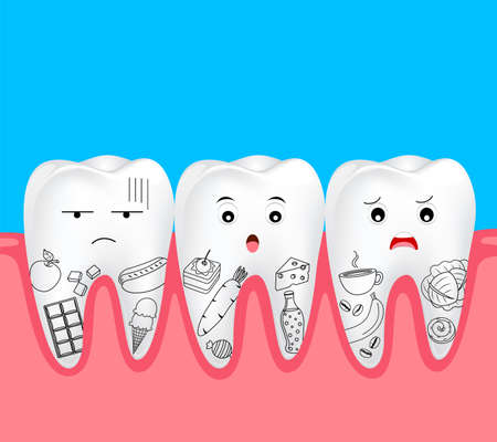 Cute cartoon tooth character with food. Hand draw style. Dental problem concept. Illustration isolated on blue background.
