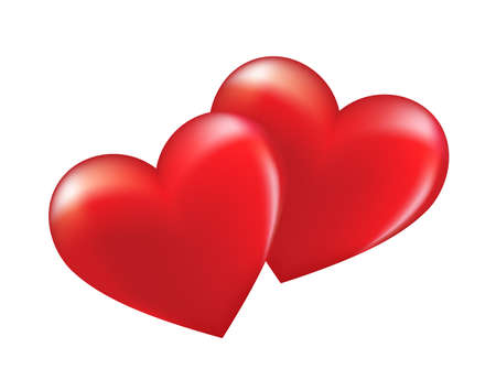 Zwei verliebte Herzen. Fröhlichen Valentinstag. Vektorabbildung getrennt auf weißem Hintergrund. Standard-Bild - 94493475