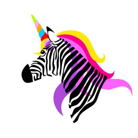 Kleurrijke eenhoornzebra. vector illustratie geïsoleerd op een witte achtergrond. Stock Illustratie
