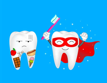 Funny cartoon tooth holding toothbrush. Tooth with food and Super tooth character, dental care concept. Illustration isolated on blue background.